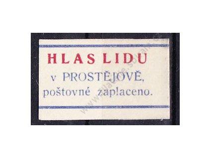 """1945, novinová nálepka """"HLAS LIDU V PROSTĚJOVĚ"""", bez lepu"""