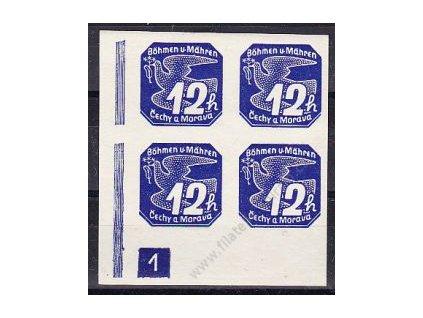 12h modrá, roh. 4blok s DČ 1, Nr.NV6, **