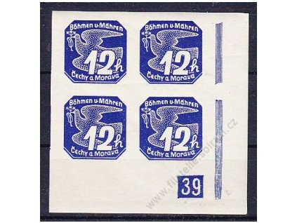 12h modrá, roh. 4blok s DČ 39 - protikus k DČ 2, Nr.NV6, **