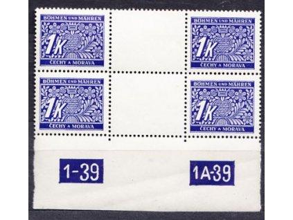 A-1K modrá, 2meziarší s DČ 1-39 1A-39, Nr.DL9, **