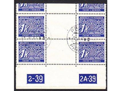1K modrá, 2meziarší 2-39 2A-39 s ořezem, Nr.DL9, razítkované