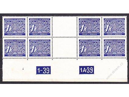 1K modrá, 4známkové meziarší ve 2pásce s DČ 1-39 1A-39, Nr.DL9, **