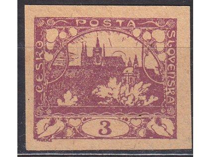 3h fialová, nezoubkovaný ZT na nahnědlém papíru, Nr.2, bez lepu