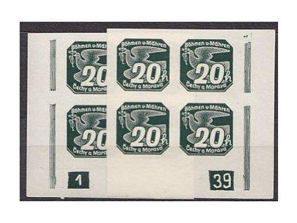 1939, 20h zelená, 2 roh. 4bloky s DČ 1-39 L+P, Nr.NV7, **