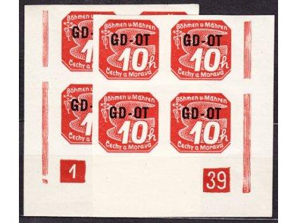 1939, 10h GD-OT, 2 roh. 4bloky s DČ 1-39 L+P, Nr.OT1, **