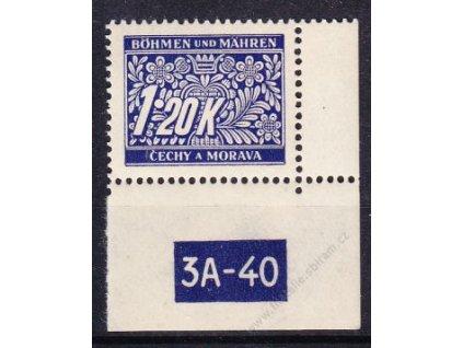1.20K modrá, pravý roh. kus s DČ 3A-40, varianta X, Nr.DL10, **