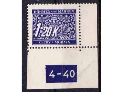 1.20K modrá, pravý roh. kus s DČ 4-40, varianta X, Nr.DL10, **