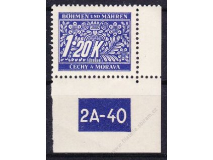 1.20K modrá, pravý roh. kus s DČ 2A-40, varianta X, Nr.DL10, **, dvl