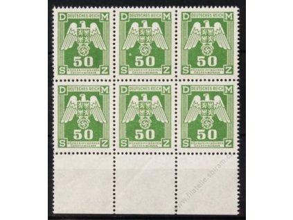 1943, 50h zelená, kraj. 6blok s VV - kroužek pod křídlem u horní prostřední zn., Nr.SL15, **
