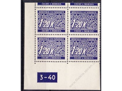 1.20K modrá, levý roh. 4blok s okrajem s DČ 3-40, varianta Y, Nr.DL10, **