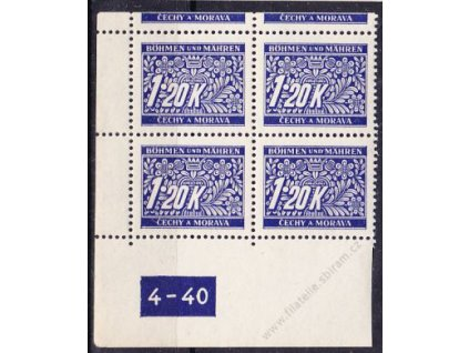 1.20K modrá, levý roh. 4blok s okrajem s DČ 4-40, varianta X, Nr.DL10, **