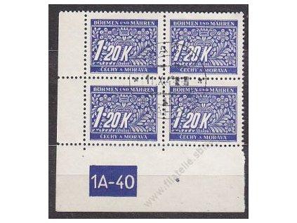 1.20K modrá, levý roh. 4blok s DČ 1A-40, var. X, razítkované