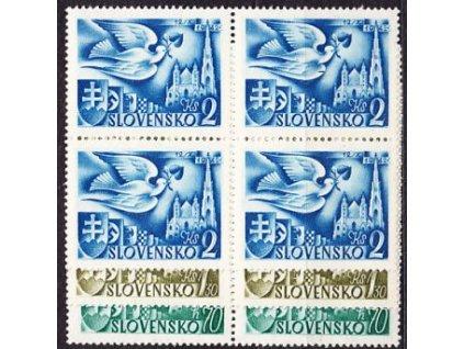 1942, 70h-2Ks Poštovní kongres, 4bloky, Nr.72-4, **