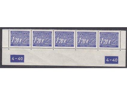 1.20K modrá, spodní 5pás s DČ 4-40, var-X-X, Nr.DL10, **