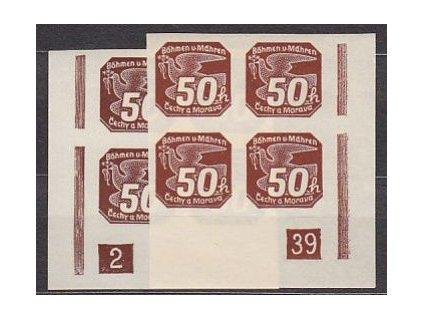 1939, 50h hnědá, 2 roh. 4bloky s DČ 2-39, **