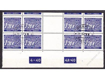 1.20K modrá, 4známkové 2meziarší s DČ 4-40 4A-40, horní okraj, Nr.DL10, razítkované, ilustra