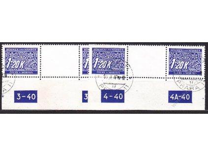 1.20K modrá, 2 meziarší s DČ 3-40 3A40 a 4-40 4A-40, Nr.DL10, razítkované