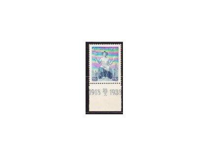 1938, 2Kč Republika, známka z aršíku s dolním okrajem, Nr.347, **
