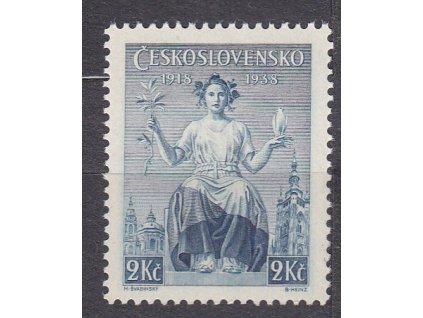 1938, 2Kč Republika, známka z aršíku, Nr.347, **