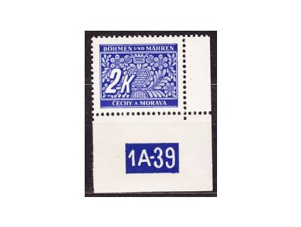 2K modrá, roh. kus s DČ1A-39, varianta X, Nr.DL11, **