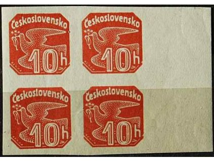 1937, 10h Holubice z aršíku Bratislava, falzum, označeno, kraj. 4blok, **/*
