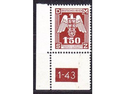 1943, 1.50K Služební, roh. kus s DČ 1-43 - 2 náklad, Nr.SL20, **, dvl