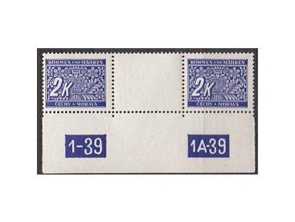 1939, 2K modrá, meziarší s DČ, Nr.DL11, **