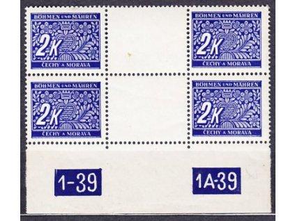 2K modrá, 2meziarší s DČ 1-39 1A-39, Nr.DL11, **, dv