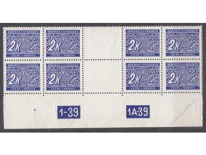 2K modrá, 4známkové meziarší s DČ 1-39-1A-39, Nr.DL11, **