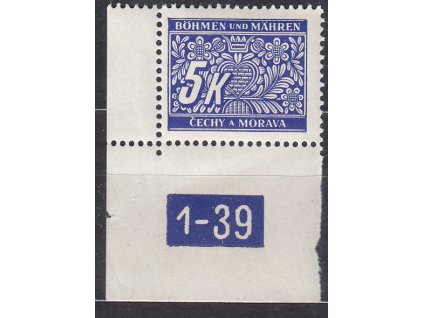 5K modrá, roh. kus s DČ1-39, varianta X, Nr.DL12, **