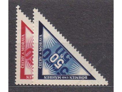 1939, 50h modrá a červená Doruční, Nr.DR1-2, **