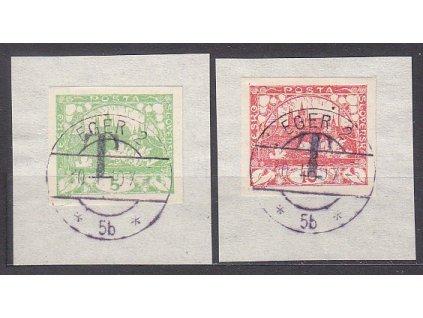 2 výstřižky vyfr. 5 a 10h Hradčany, obě s přetiskem T, razítko EGER 30.1.19
