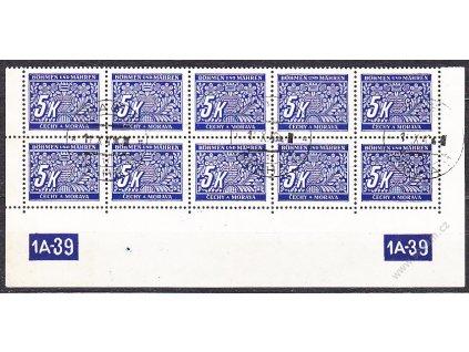 5K modrá, 10blok s DČ 1A-39, X-Y, Nr.DL12, razítkované