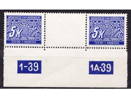 5K modrá, meziarší s DČ 1-39-1A-39, Nr.DL12, **