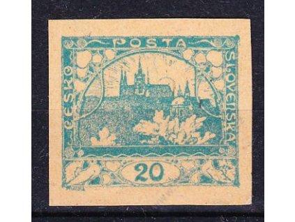 20h modrozelená, ZT na nahnědlém papíře, Nr.8, bez lepu