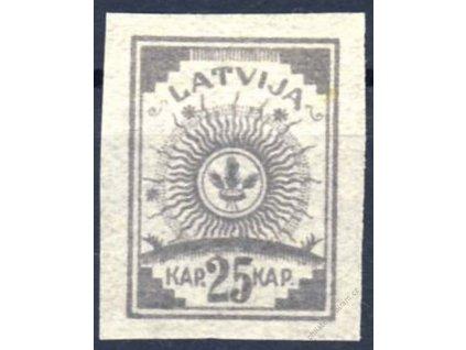 Latvija, 1919, 25Kap šedá, MiNr.11C, (*)
