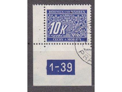 10K modrá, levý roh. kus s DČ 1-39, var. X, Nr.DL13, razítkované