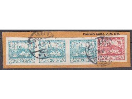 Výstřižek vyfr. 10h + 3páskou 20h modrozelená, levá zn. s DV - tečka, Nr.8