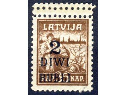 Latvija, 1920, 2R/35Kap hnědá, dvojitá perforace
