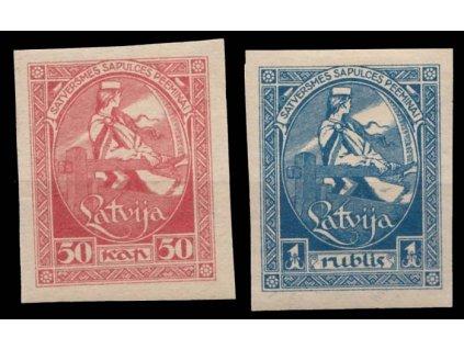 Latvija, 1920, 50Kap a 1R nezoubkované, * po nálepce