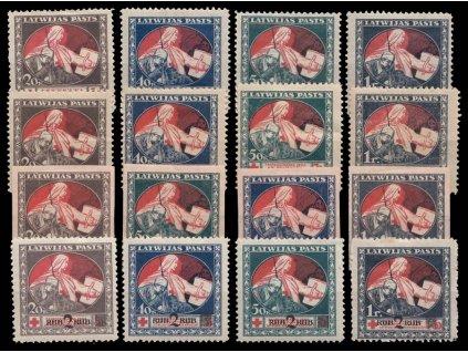 Latvija, 1920, 20Kap-1R 4 série Červený kříž, různé nálepky