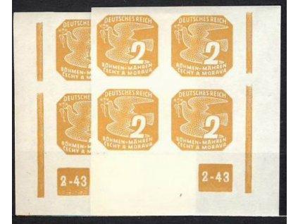 1943, 2h žlutohnědá, roh.4blok s DČ2-43