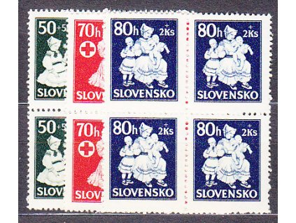 1943, 50-80h Dětem, 4bloky, Nr.84-6, **