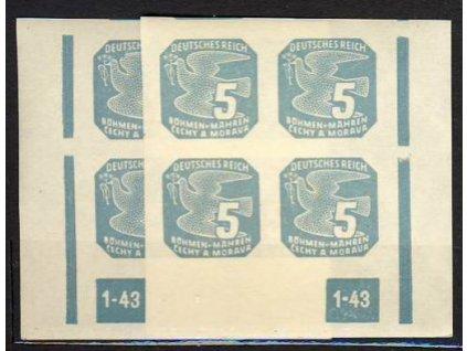 1943, 5h modrá, L+P roh.4blok s DČ 1-43, **