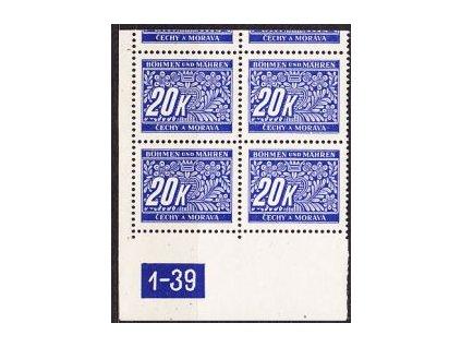 20K modrá, roh.4blok s DČ1-39, varianta Y, horní okraj, **/*
