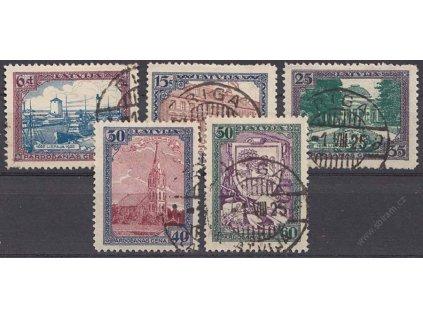 Latvija, 1925, 6-50S série Libau, MiNr.107-11A, razítkované