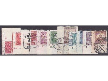 10 ks různých zn. z let 1926-35, rohové s DČ, razítkované