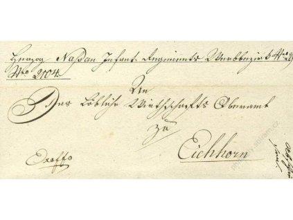 Vojenský skládaný dopis z roku 1826