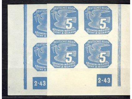 1943, 5h modrá, roh.4blok s DČ2-43, L+P **, nepřerušený rám