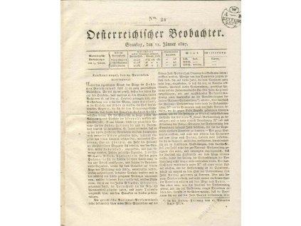 1827, Zeitung 1K 1827, list novin No.21, A4,